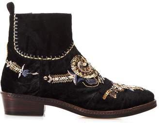 Coral Blue Embellished Black Velvet Ankle Boots