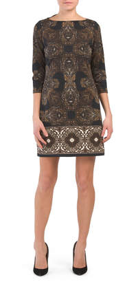 Etched Sleeve Ponte Dress