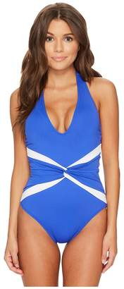 Lauren Ralph Lauren Beach Club Plunge Twist Halter One-Piece Shaping Fit w/ Removable Cups Women's Swimsuits One Piece