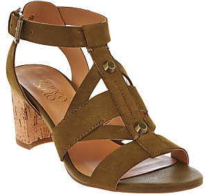 As Is Franco Sarto Leather Multi-strap Sandals w/ Cork Heel - Paloma $24 thestylecure.com