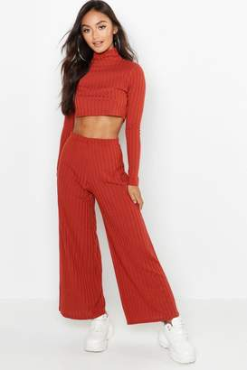 boohoo Petite Rib Knit Turtle Neck Co-Ord