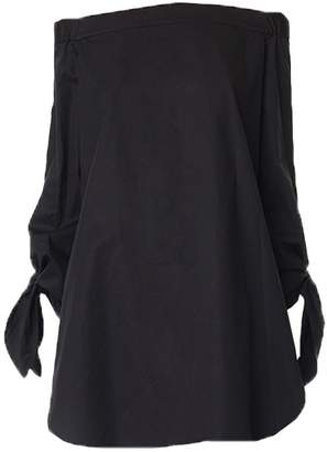 Tibi Satin Poplin Off-the-Shoulder Tunic