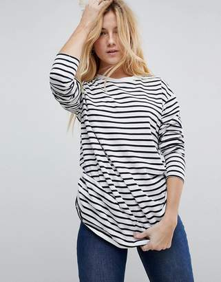 Asos DESIGN stripe t-shirt with long sleeve in oversize fit