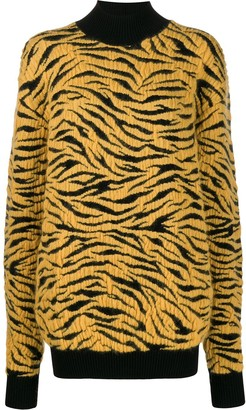 Kwaidan Editions knitted tiger rollneck jumper