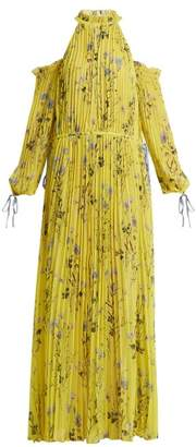 Self-Portrait Self Portrait Off Shoulder Floral Print Pleated Dress - Womens - Yellow Print