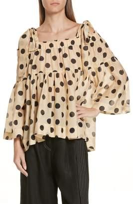 Lee MATHEWS Minnie Polka Dot Cotton & Silk Cold Shoulder Top