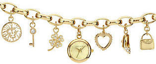 Anne Klein Anne Klein Ladies Goldtone Charm Bracelet Watch