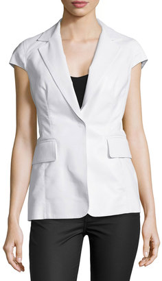 Kaufman Franco Cap-Sleeve Notch-Collar Jacket, Optic $980 thestylecure.com