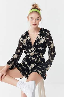 Bardot Floral Embroidered Long Sleeve Romper