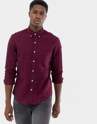 J.Crew Mercantile flex slim fit oxford shirt button down in burgundy marl