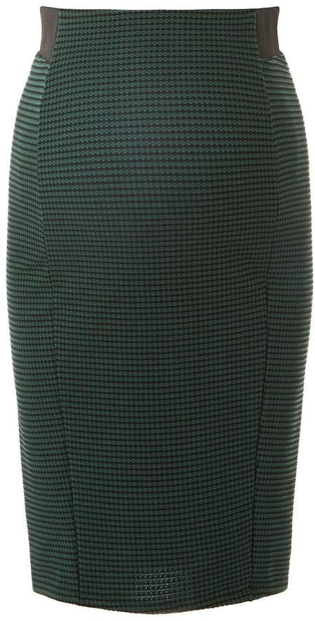 *Maternity Green Gingham Pencil Skirt