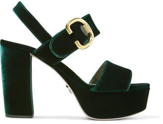 Prada Velvet Platform Sandals - Emerald