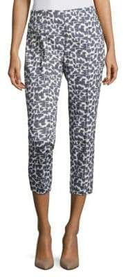 Peserico Geometric-Brush Painted Cropped Pants