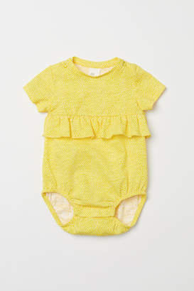 H&M Cotton Bodysuit with Ruffle - Yellow