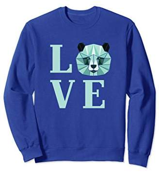 Love Panda Letters Print Animal Lover Sweatshirt