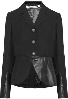McQ Alexander McQueen - Decon Leather-paneled Twill Blazer - Black $950 thestylecure.com