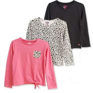 Limited Too Long Sleeve Side Tie, Solid, & Print T-Shirts, 3-Pack (Little Girls & Big Girls)