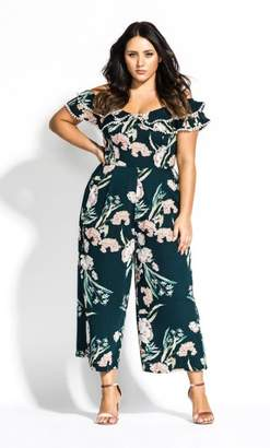 City Chic Fresh Field Jumpsuit - emerald