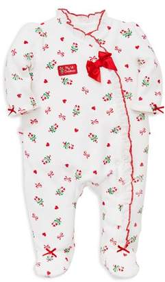 Little Me Girls' My First Christmas Velour Candy Cane Footie - Baby