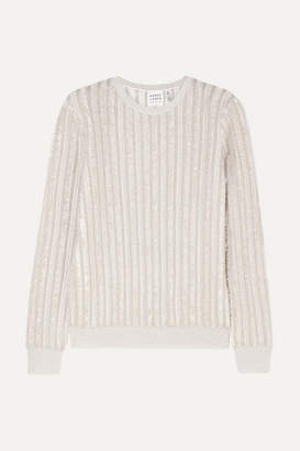Herve Leger Striped Metallic Knitted Sweater - Silver