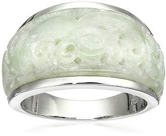 Sterling Silver Carved Genuine Jade Ring