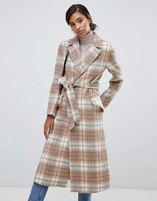 Jack Wills wool blend wrap coat in check
