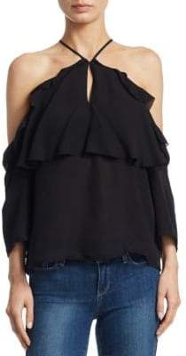 Paige Luciana Cold Shoulder Silk Top