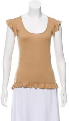 Burberry Silk & Cashmere-Blend Top Tan Silk & Cashmere-Blend Top