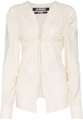 Jacquemus ecru V-neck ruched cotton linen-blend blouse