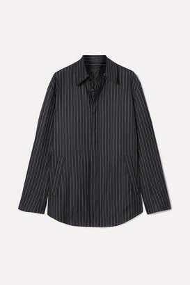 Balenciaga Pinstriped Wool And Cashmere-blend Shirt - Navy