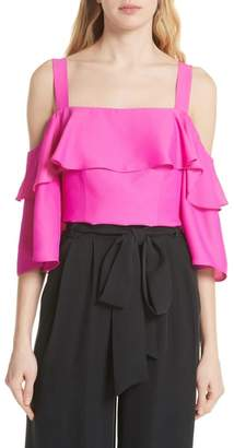 Milly Audrey Ruffled Cold Shoulder Silk Top