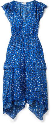 Ulla Johnson Aurelie Asymmetric Floral-print Cotton And Silk-blend Midi Dress - Blue