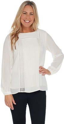 Joan Rivers Classics Collection Joan Rivers Long Sleeve Blouse with Pintuck Detail