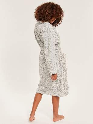 Figleaves Cosy Leopard Embossed Robe - Silver