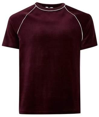 Topman Mens Red Burgundy Velour T-Shirt