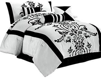 Chezmoi Collection Nobility 7-Piece with Black Floral Flocking Comforter Set Bag for King Size Bedding