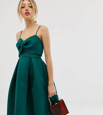 Asos DESIGN Petite cami bow crop top prom midi dress