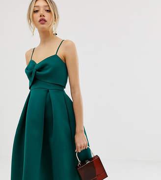 Asos DESIGN Petite cami bow crop top prom dress