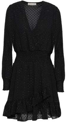 Michael Kors Wrap-effect Metallic Fil Coupe Mini Dress