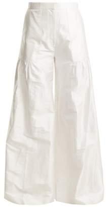 Duro Olowu - High Rise Wide Leg Silk Taffeta Trousers - Womens - White