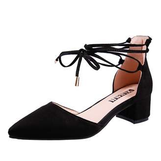 d51a8c5d34aa Dasuy Women s High Heel Pointed Toe Square Heel Ankle Buckle Strap Shoes  Ladies Sandal Shoes Comfortable