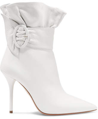 Aquazzura Palace Ruffled Leather Ankle Boots - White