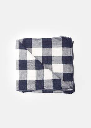 MORIHATA Large Vintage Check Bath Towel Navy