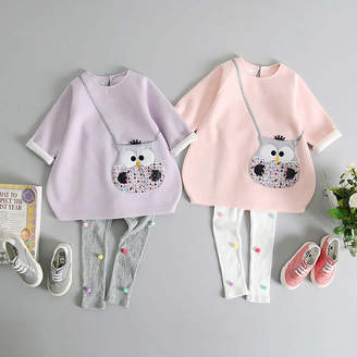 JJ Park Owl Handbag Pocket Tunic And Pom Pom Leggings Set