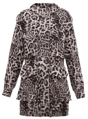 Norma Kamali Hooded Leopard Print Jersey Cargo Jacket - Womens - Grey Print
