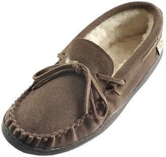 6645a99d87d Laurentian Chief Rubber Sole Men s Suede Sheepskin Lined Moccasin Slippers