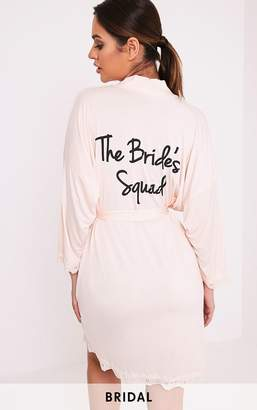 PrettyLittleThing The Bride's Squad Nude Slinky Dressing Gown
