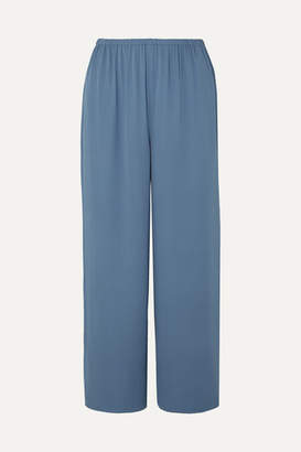 Theory Cropped Silk-crepe Straight-leg Pants - Blue