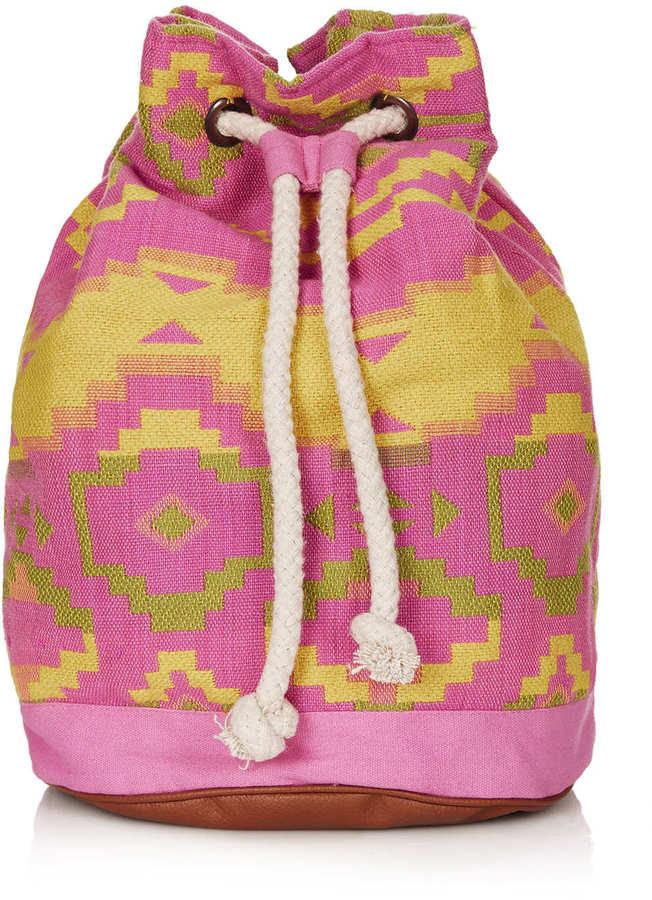 Topshop Neon Aztec Duffle Backpack