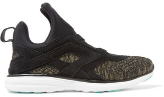 Athletic Propulsion Labs - Cielo Suede-trimmed Neoprene And Knitted Sneakers - Black $495 thestylecure.com